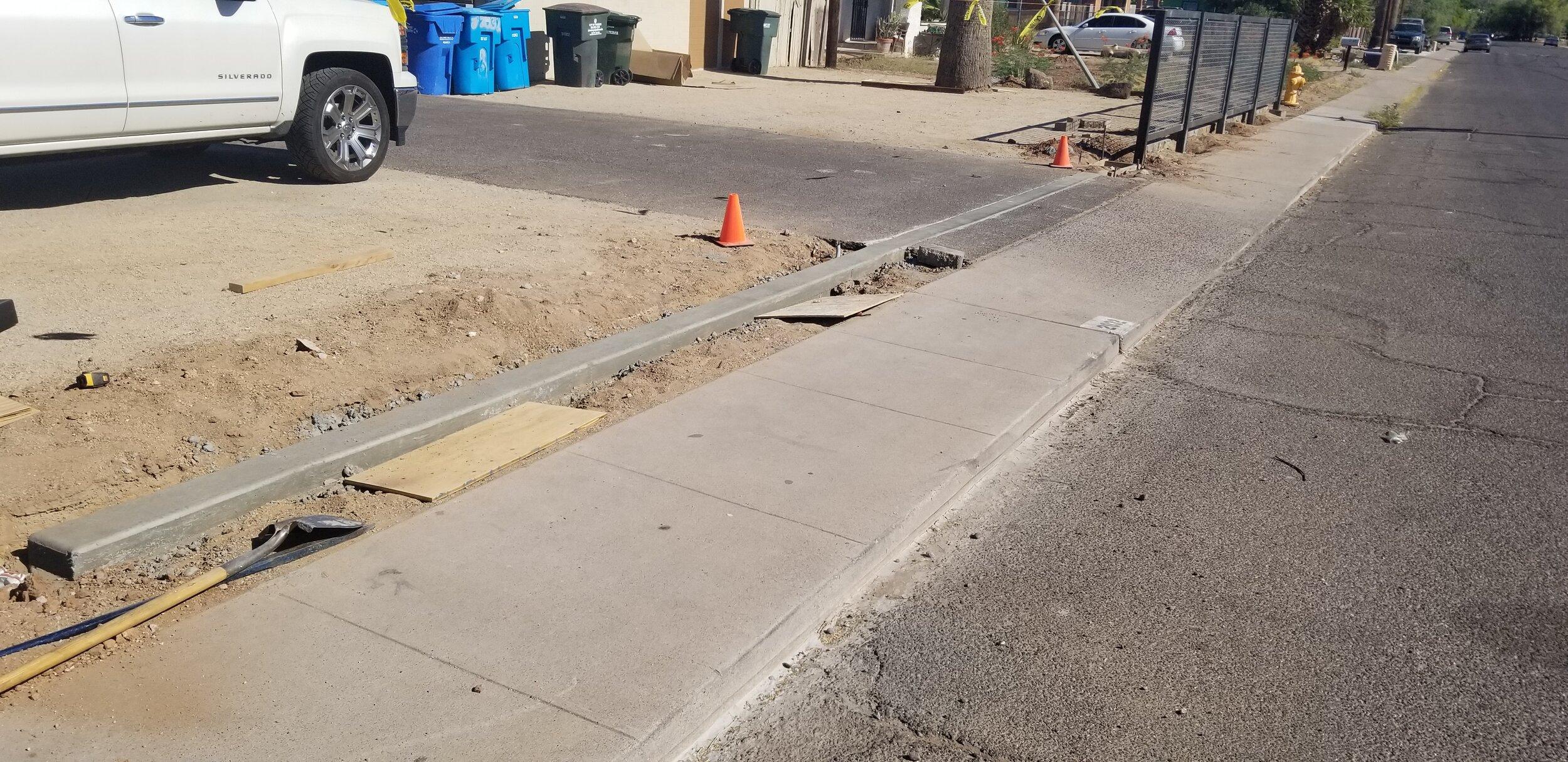 Rolling gate concrete poured