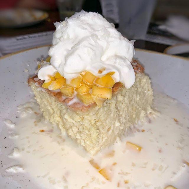 mango tres leches |🥭| sponge cake, mango, coconut whipped cream | at the all-new @miaimprov now open in doral | #themiamimenu #miamiimprov