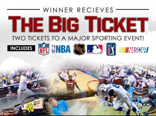 """VIP Ticket** """"Guaranteed Winner""""2 chances for (2) tickets to a professional sporting event (NBA, NFL, MLB, NHL, NASCAR or PGA) or concerts in their area."""