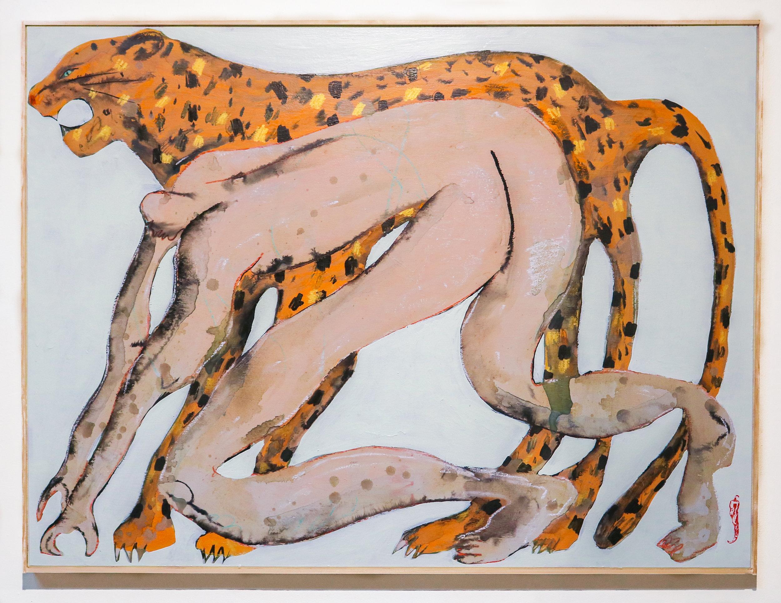"""Leopardo Lewinski""  30 x 40 ""  Acrylic, Oil & Ink on Compressed Panel"