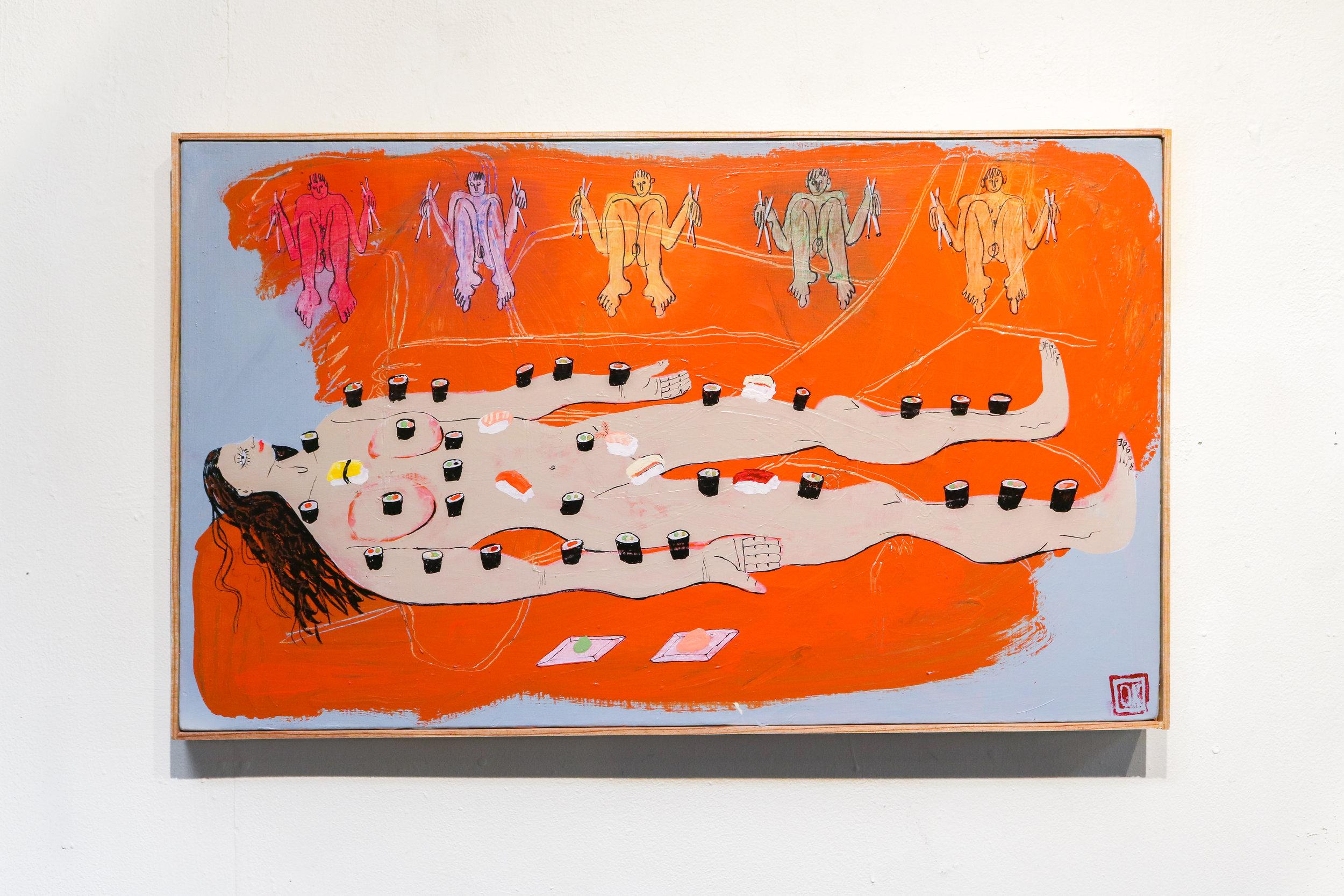 """Makimama""  18.5 x 30 ""  Acrylic, Oil & Ink on Canvas"
