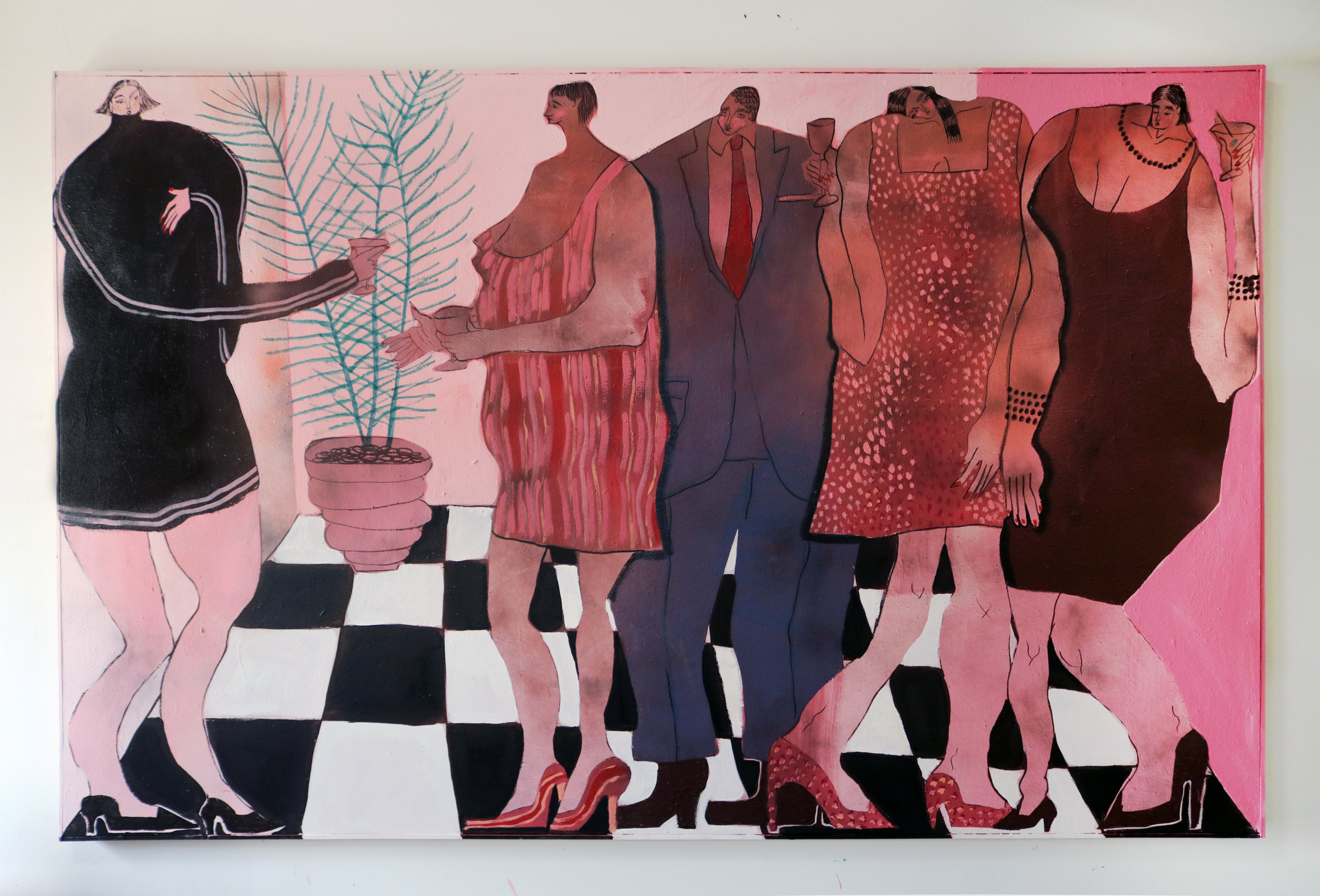 """Hot pink cocktail Hour"" - 42"" x 67"""