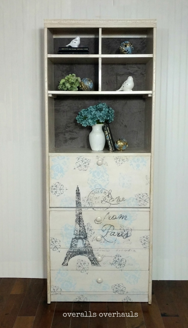 Available now! French-inspired secretary desk with tons of storage. Raise stencil detail adds texture and depth.