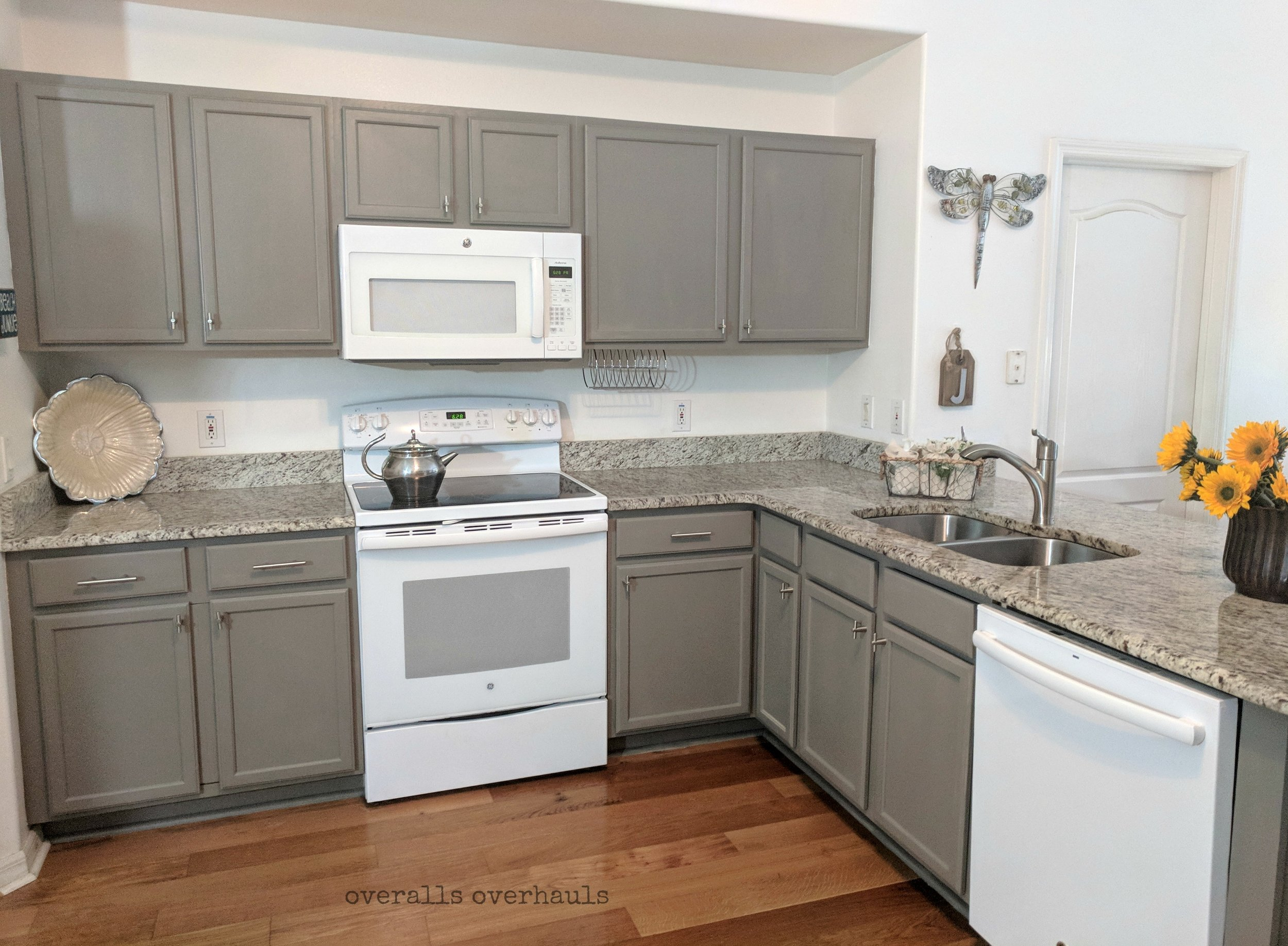 Here's where we ended! Beautiful gray brings out the counters and make the whole room feel bigger and brighter!