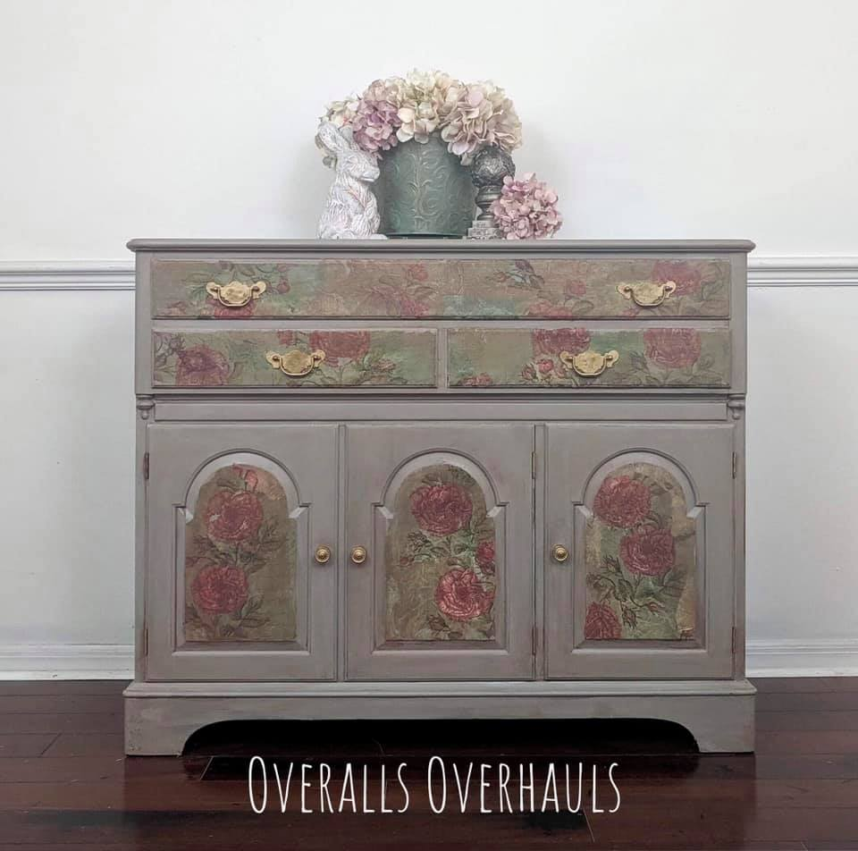 Smaller buffet with floral and striped accents. Currently availalbe. $425