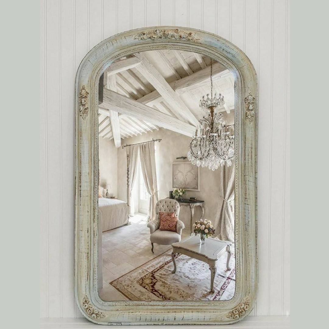 Gorgeous antique mirror given new shabby chic life. This finish can be recreated on your mirror or one I find for you.