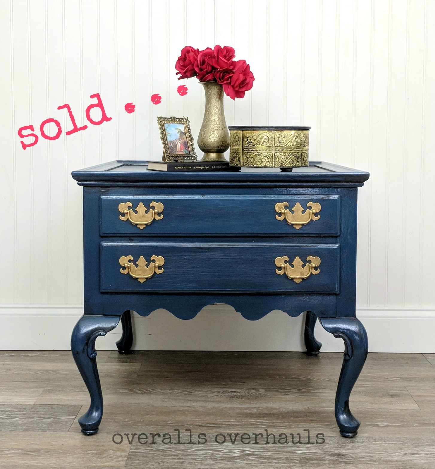 Sweet starry night night stand. Unavailable. Finish can be recreated for a piece you own or a piece I help you find.
