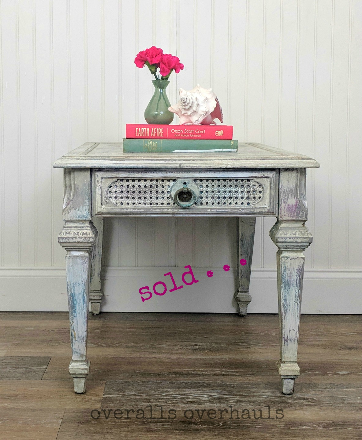 Sweetly distressed end table. Unavailable. I can recreate this finish on a piece you own or one I help you find.
