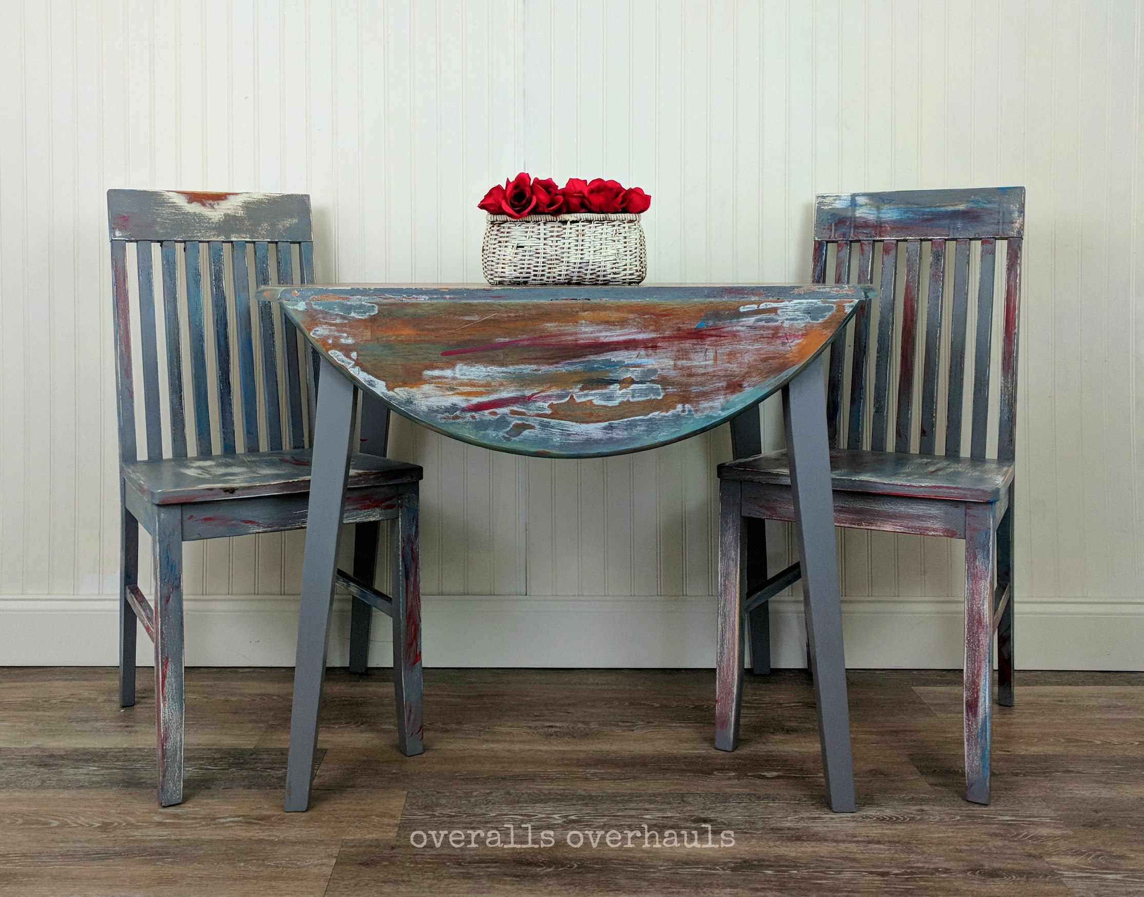 Colorfully distressed table & chairs. Unavailable. This finish can be recreated on a piece you own or on a piece I help you find.