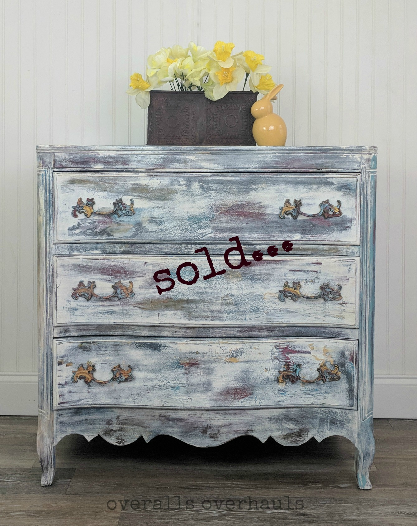 Hippy chic dresser. Unavailable. I can recreate this finish for you on a piece you own or on a piece I help you find.