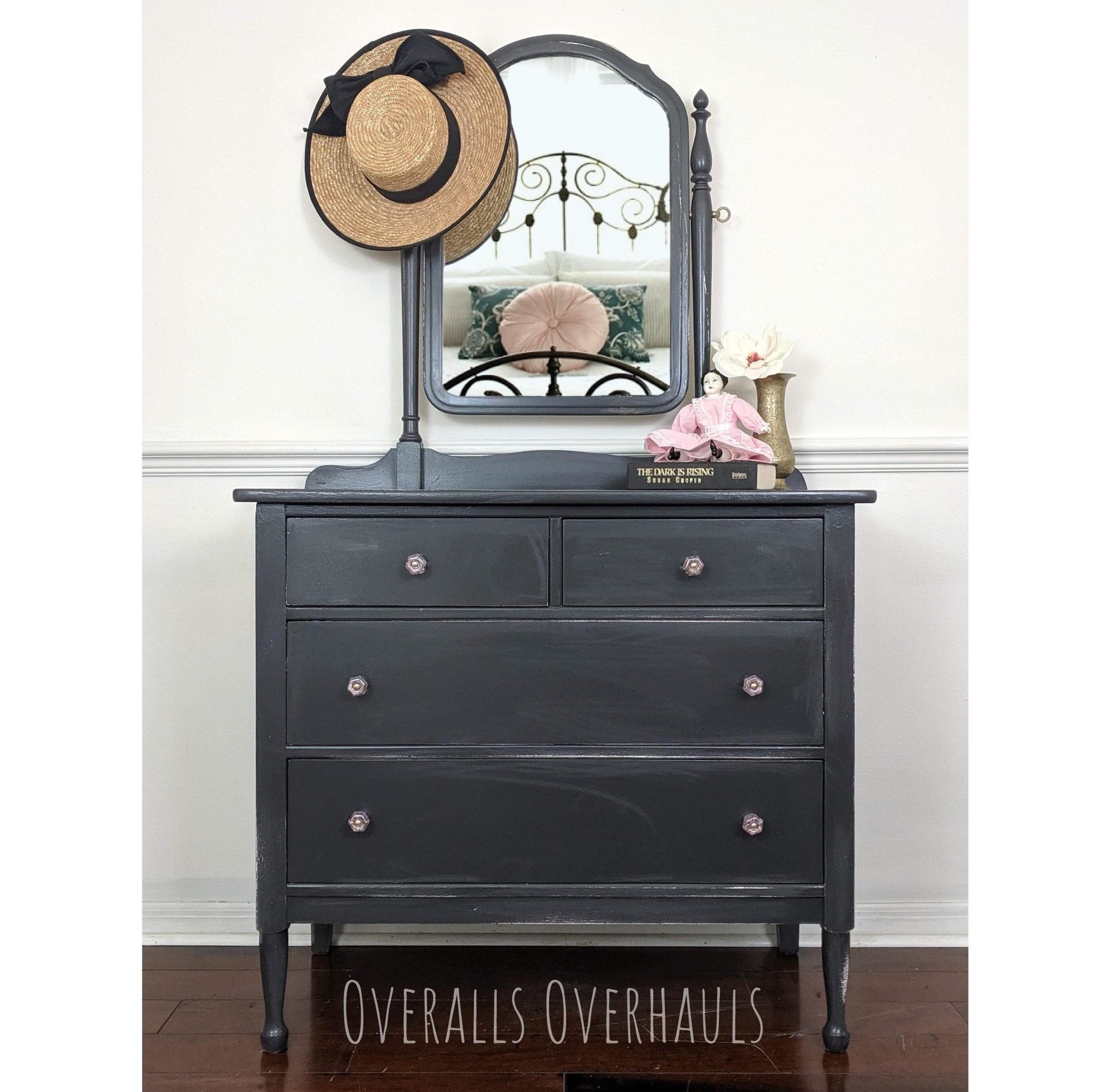 This dresser is beyond adorable. The front is not as swooshy as it appears - I need to get a better picture. In the meantime, if you are creating a nursery, guest room or small entry - you NEED this piece. Pick up in central Florida. Delivery and shpping available.