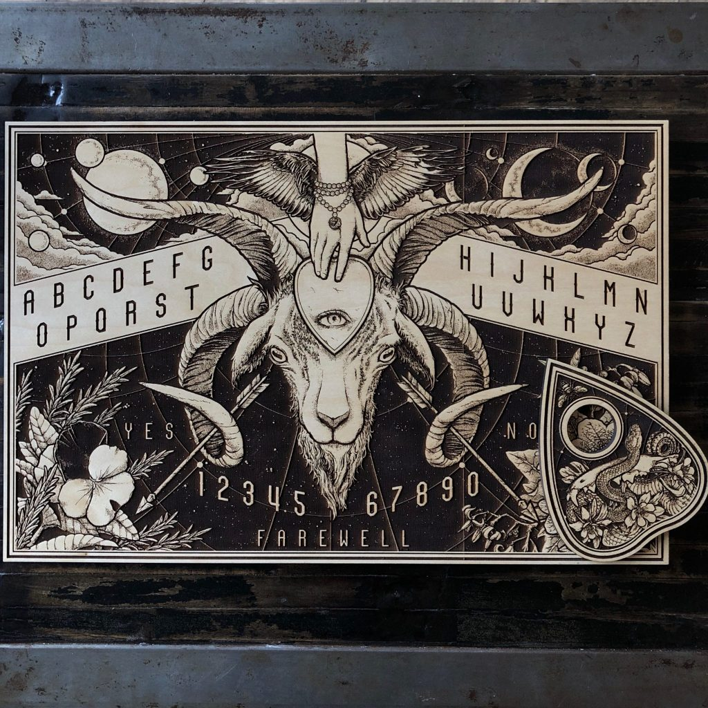 LASER ETCHED WOOD GOAT HEAD SPIRIT BOARD. WITH PLANCHETTE
