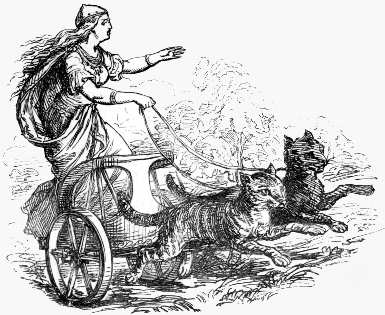 Freyjs Riding With Her Cats 1874 - Gifts for Mystics