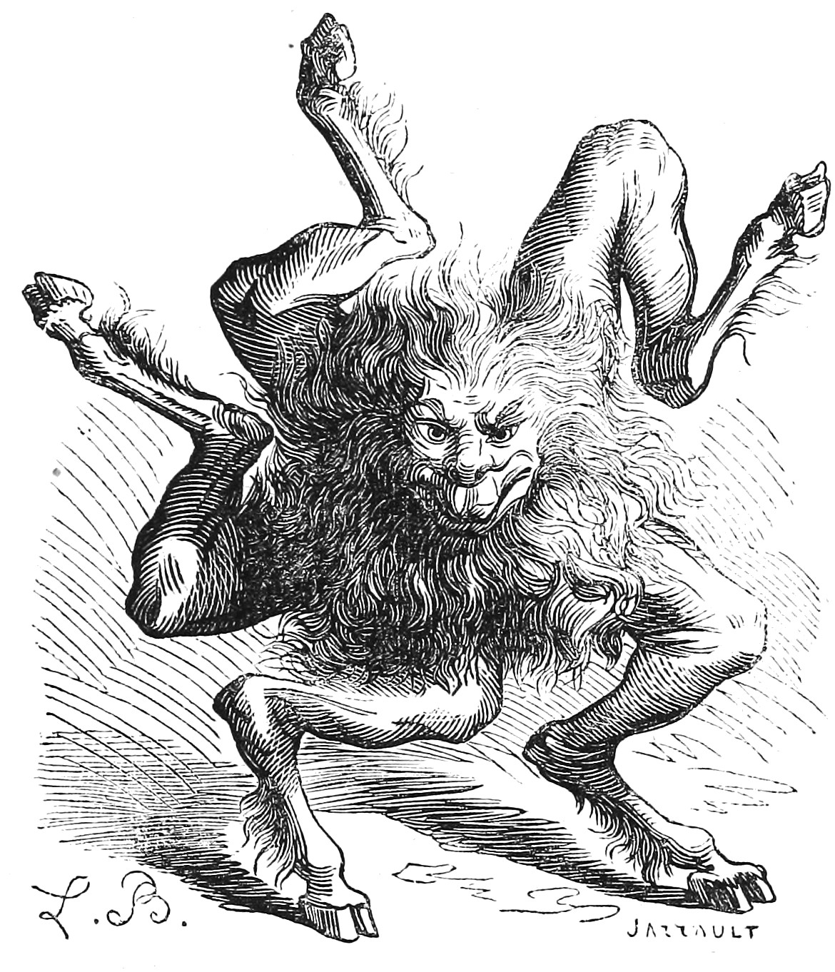 """Buer, the 10th spirit, who teaches """"Moral and Natural Philosophy"""". Illustration by Louis Breton from Dictionnaire Infernal"""