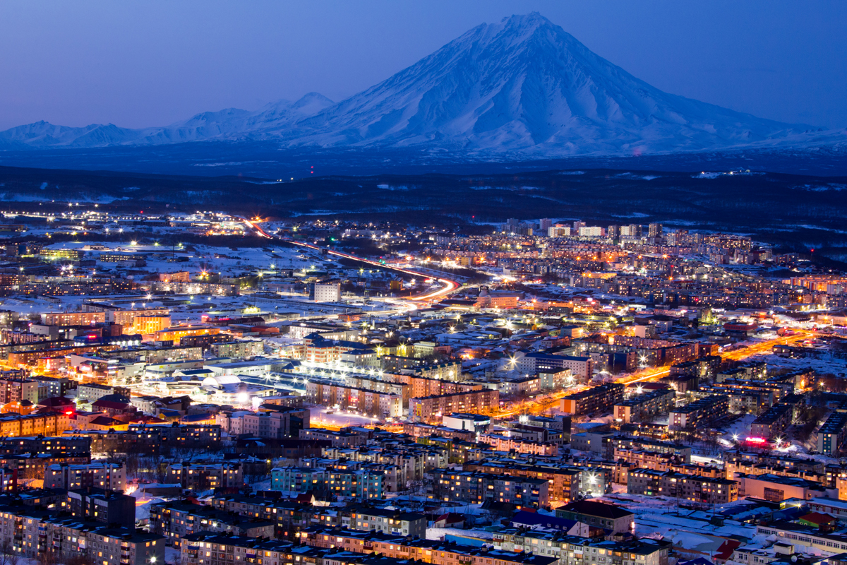A post-sunset view over Petropavlovsk-Kamchatsky, Kamchatka, Russia. Photo: Matt Reichel.