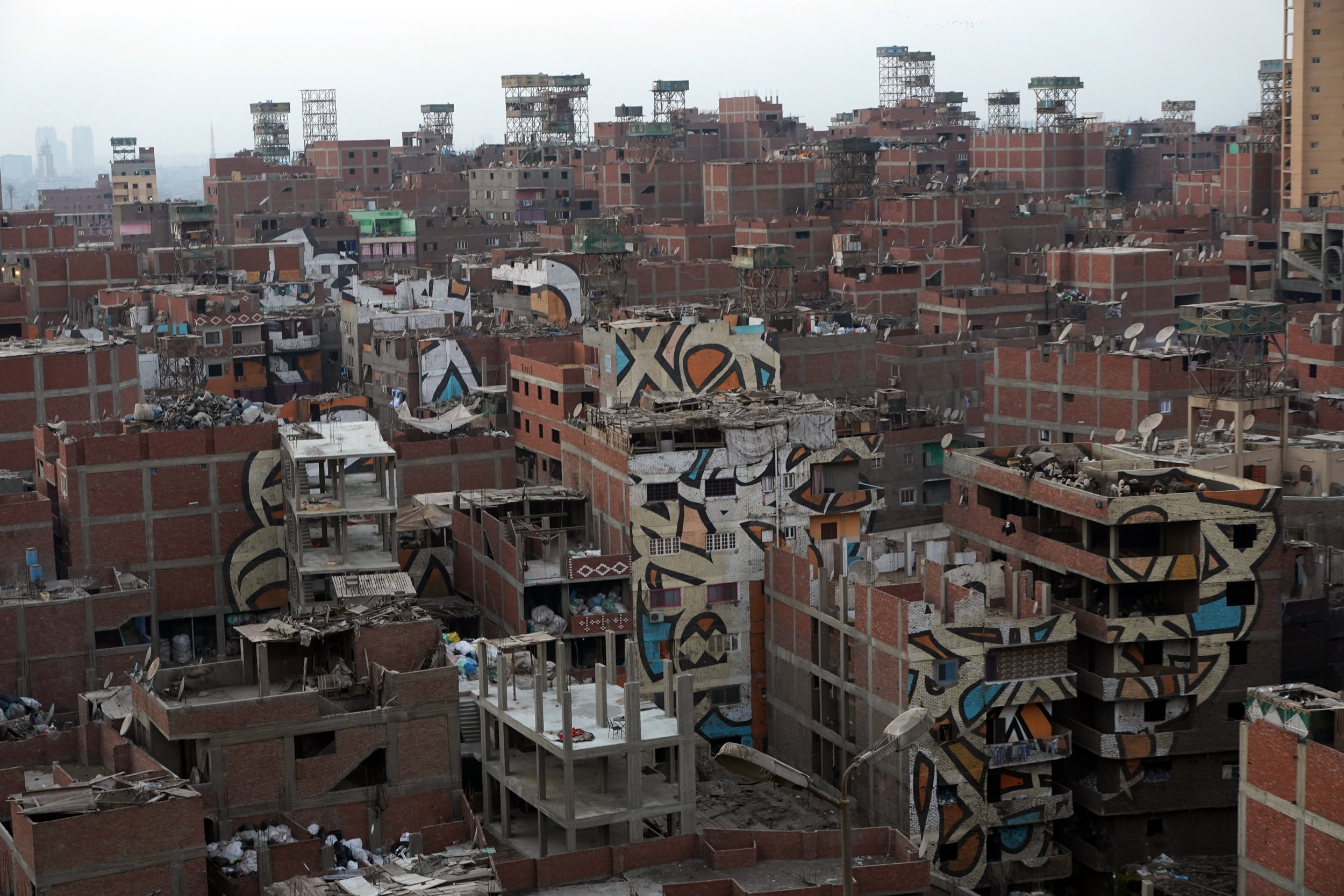 """A view over Al Zabbaleen """"Garbage City"""" in Cairo."""