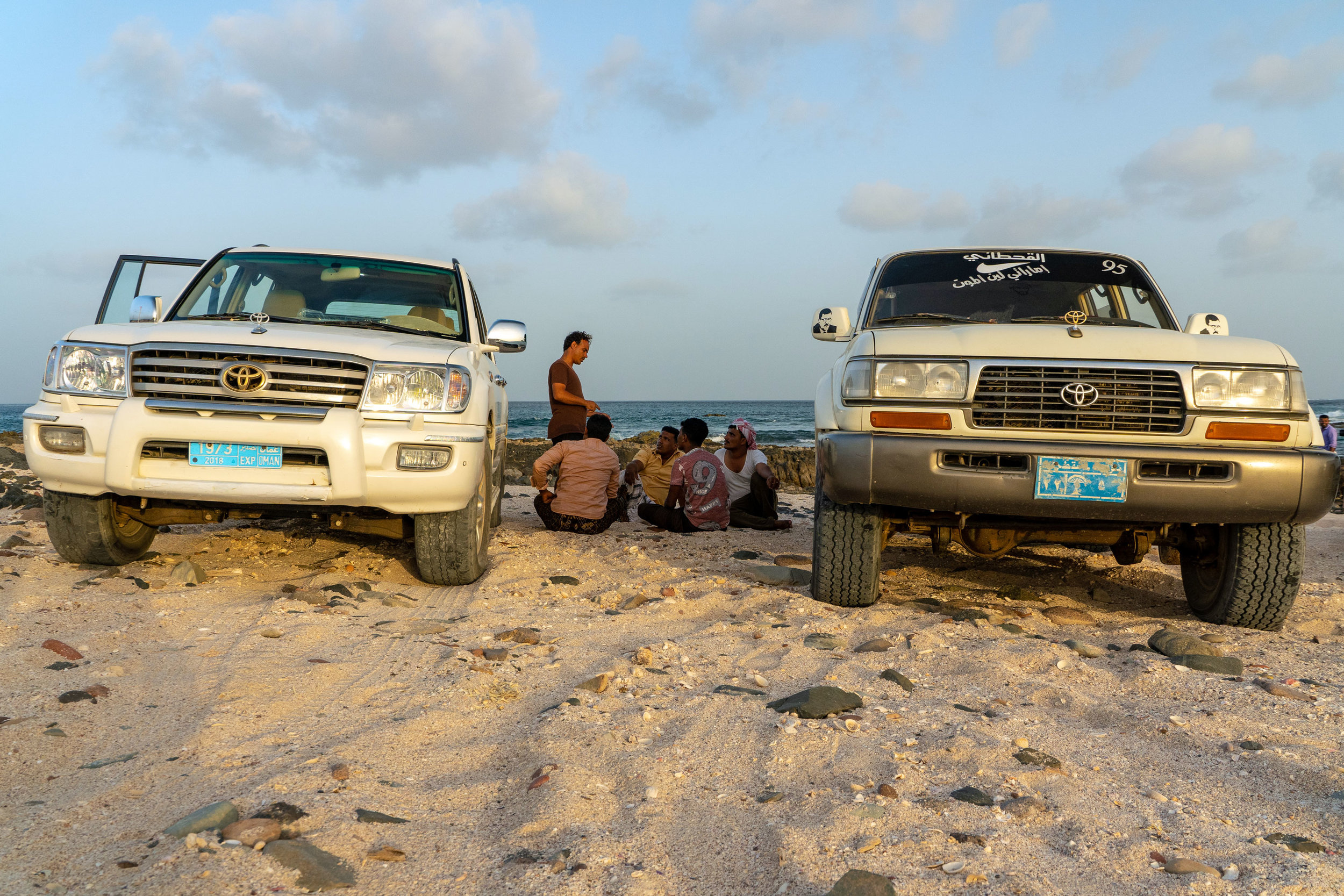 Expedition cars parked on the beach on the far eastern tip of Socotra.