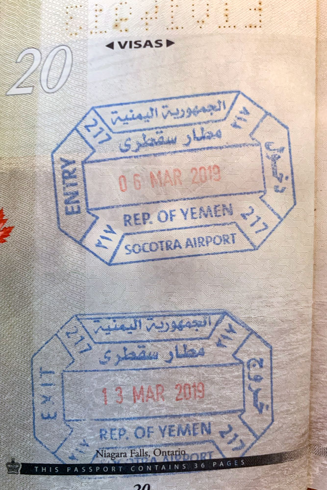 Yemen passport stamps from Socotra Airport issued in a Canadian passport.