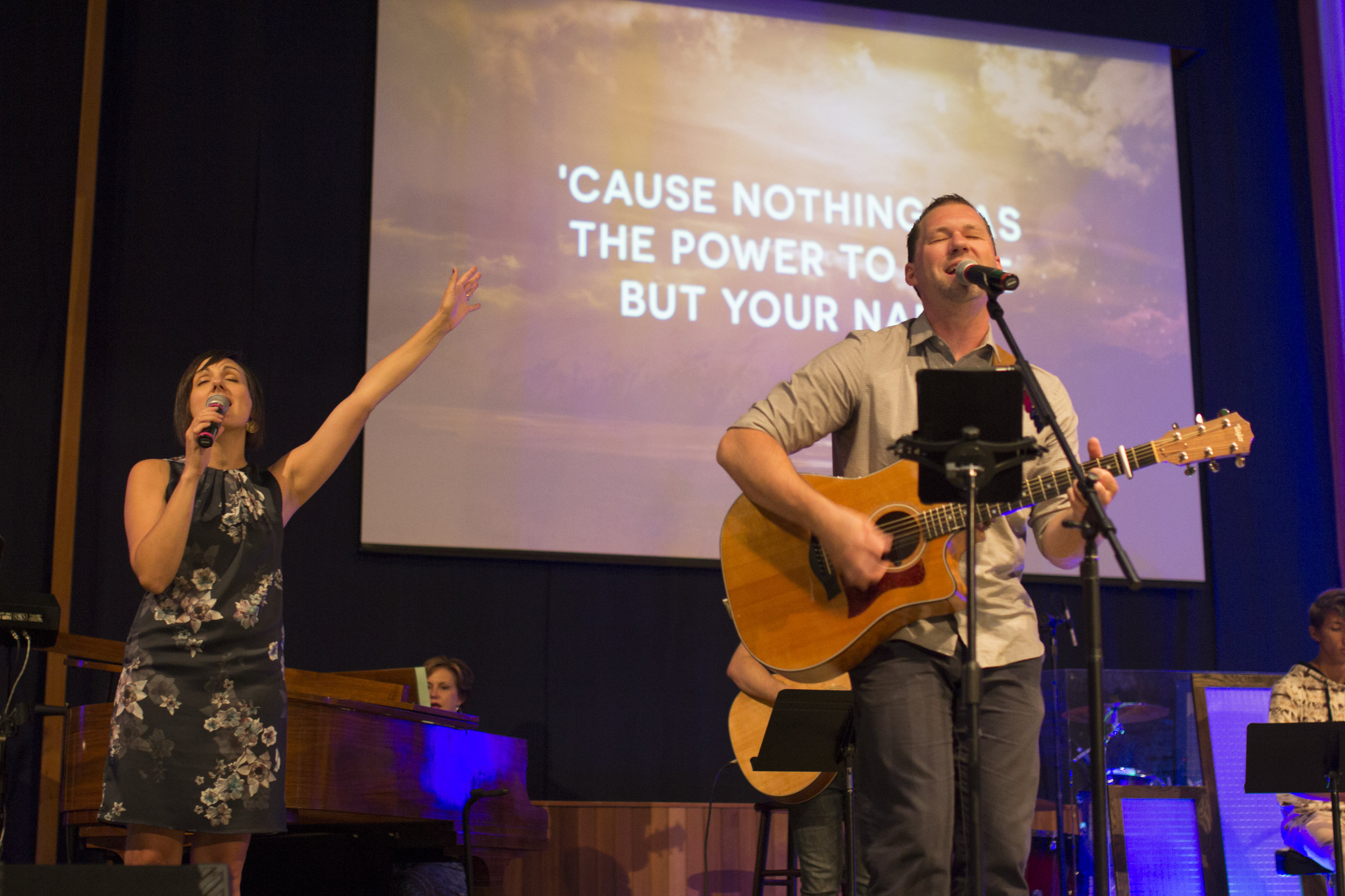 Seth and Andrea lead in worship