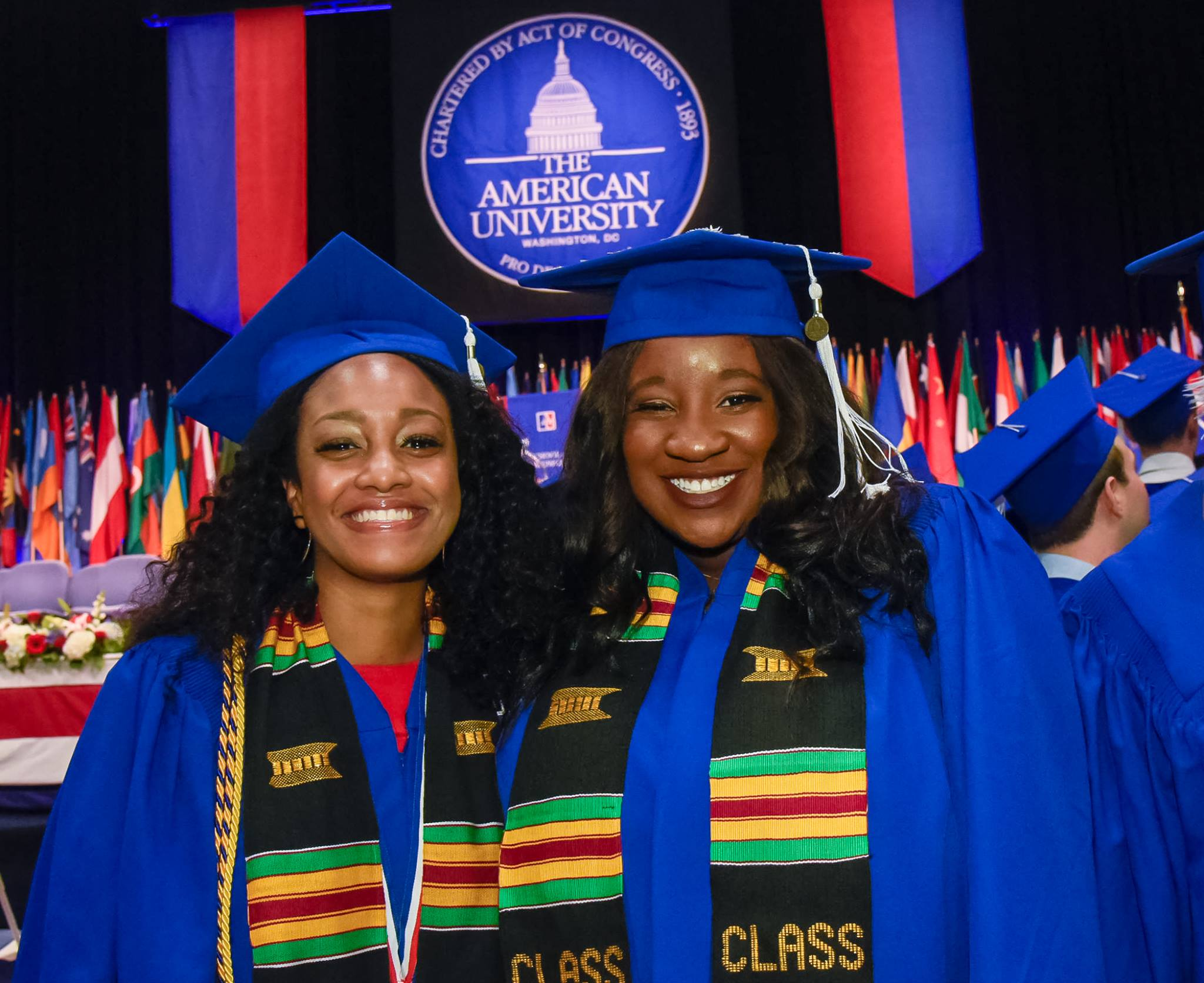 Elisha Brown (left) and Taryn Daniels (right) at their graduation ceremony