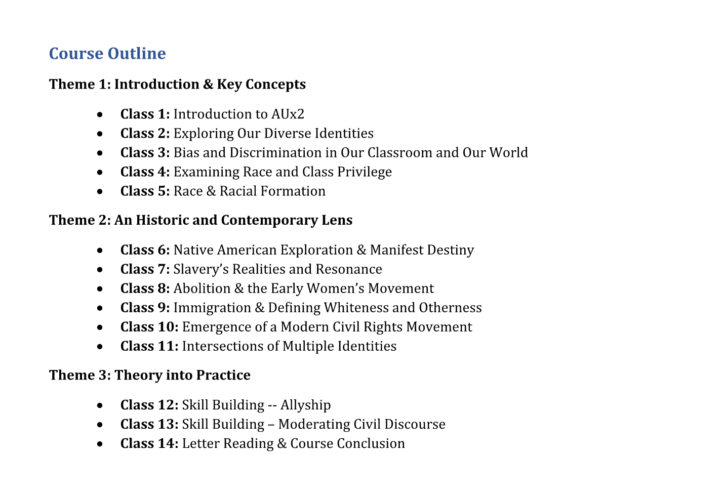 AUx2 course outline; materials range from academic journals to Youtube videos