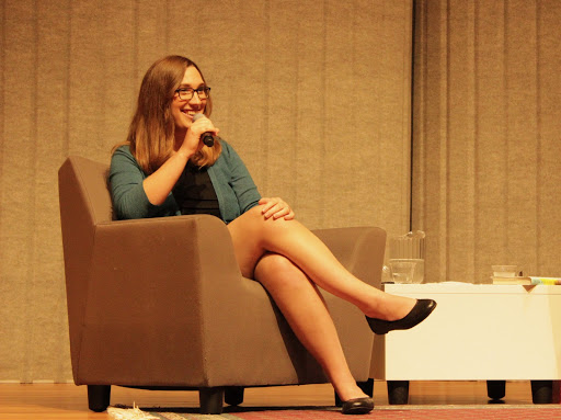 Sarah McBride sits with American University's School of Public Affairs dean Vicky Wilkins.  Photo by Roman Habibzai