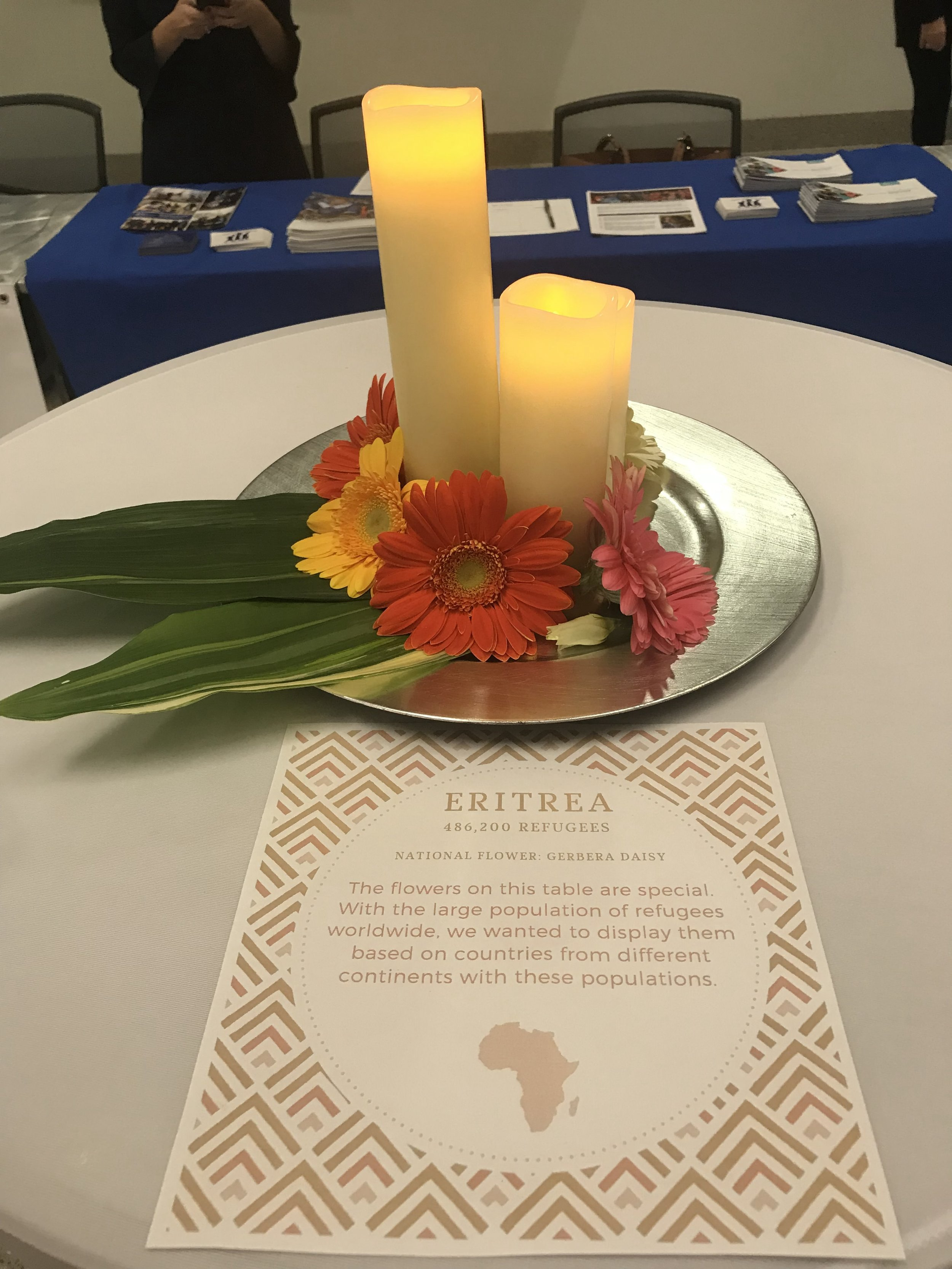 Table setting featuring information about Eritrea