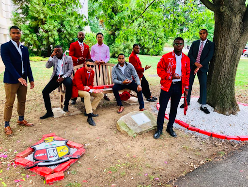 Current members and Alums of AU's Kappa Alpha Psi chapter pose for a photo during Saturday's ceremony | ( Image provided by the Kappa Chi Chapter of Kappa Alpha Psi Fraternity, Inc.)