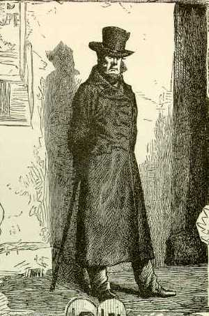 Javert as pictured in the original 1862 publication of  Les Miserables , by Victor Hugo.