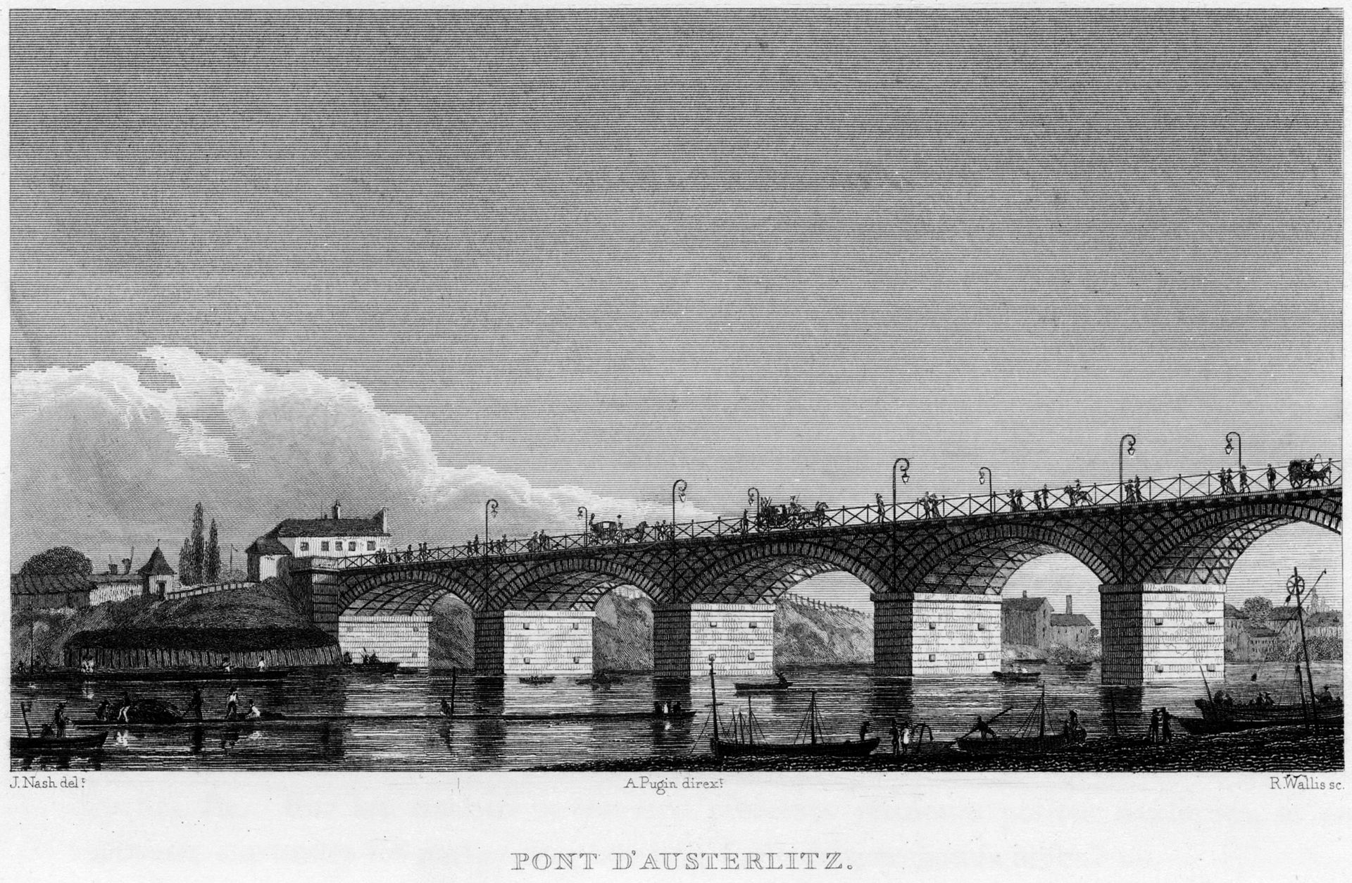 Pont d'Austerlitz in 1831, a public domain image available from the Brown University Library under the digital ID  1093026131948250 .