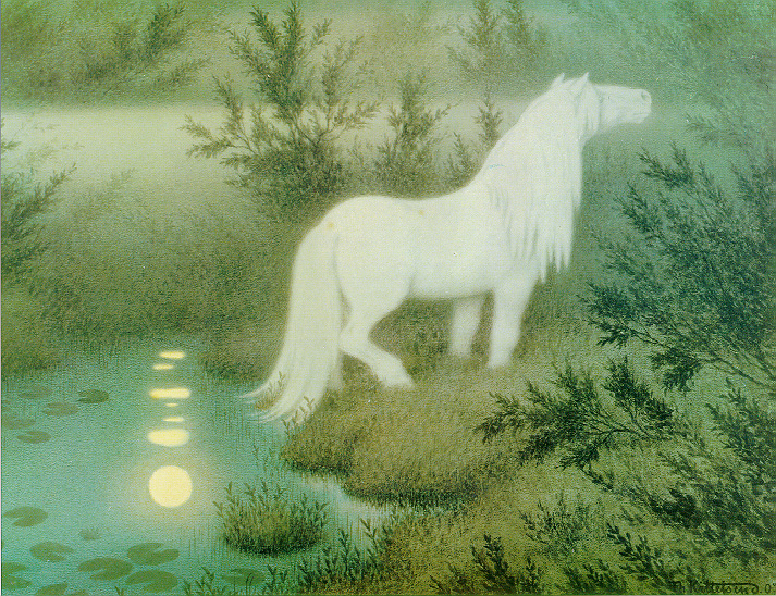 A public domain image of a  brook horse , a Swedish mythological creature,by Theodor Kittelsen.
