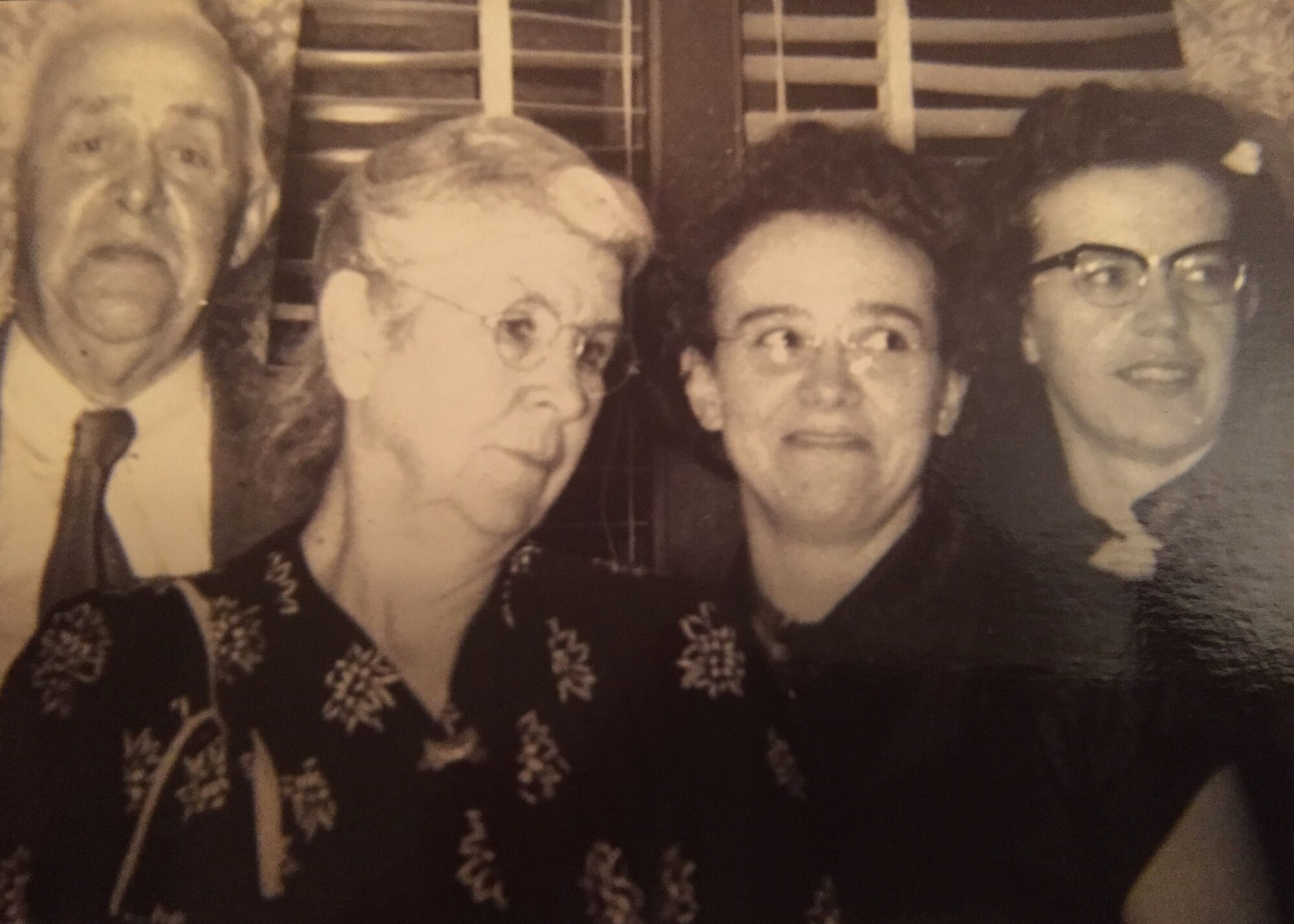 "Left to right: ""Dad"" (Elias R. Cady), ""MOther"" (Grace Johnston Cady), Alice Cady, Mary Cady."