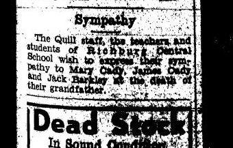 A sympathy note in the Richburg Central School section of the  Bolivar Breeze  after J.K. Johnston's death. 13 February 1941.