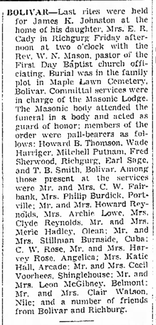 Article in the  Olean Herald , 27 January 1941.