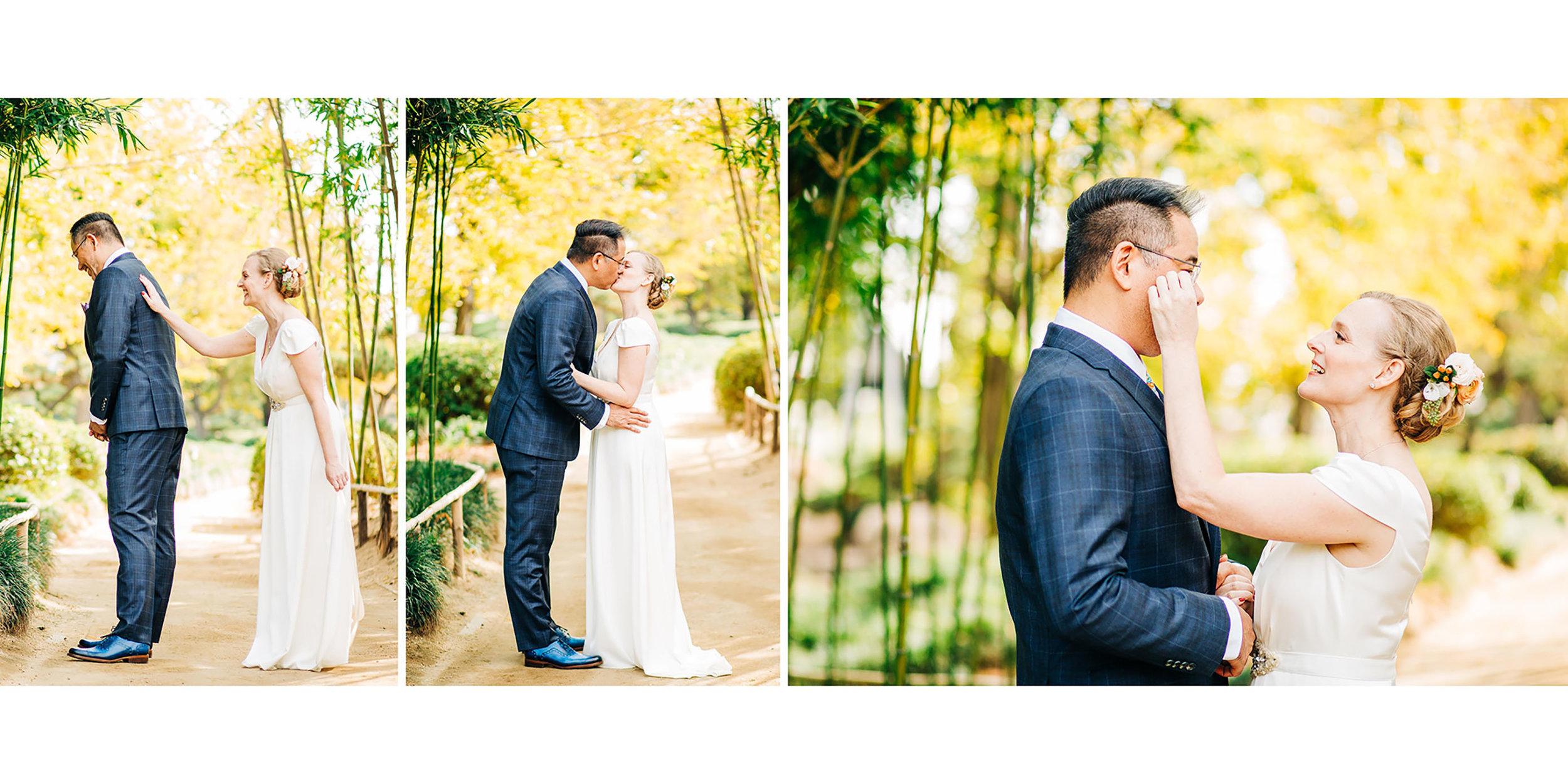 First Look Wedding Los Angeles Japanese Gardens