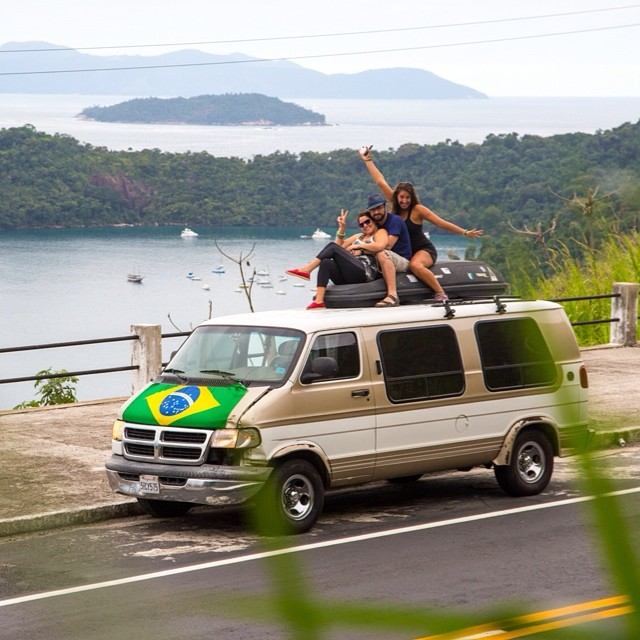 The homies @nnihiser, @amandascottterry, and Alexa happily chilling on top of 'Goaldy' somewhere along the BR-101 near #Paraty!!! Heading to #IlhaGrande!! #travel #overland #wanderlust #nature #island #worldcup #brazil #beautiful #brasil #happy