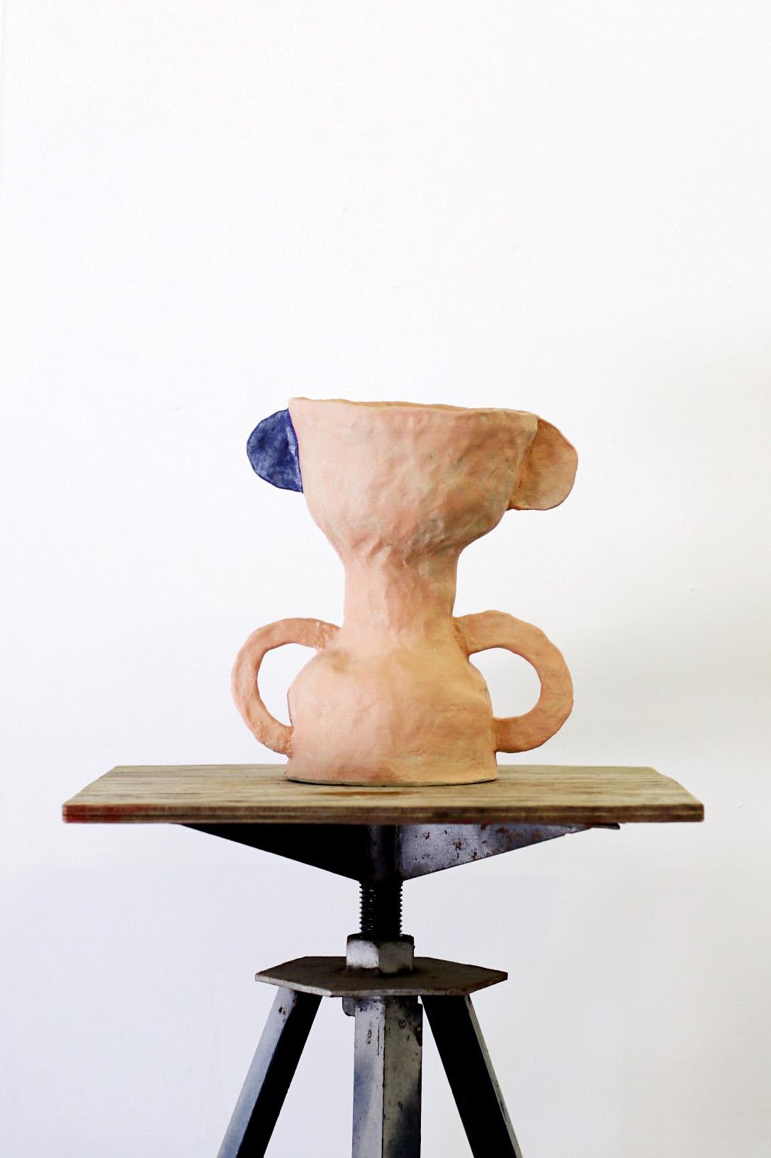 Peta Berghofer, 'Newly Formed', 'Double Bowl-Goblet', white raku, 2017.jpg