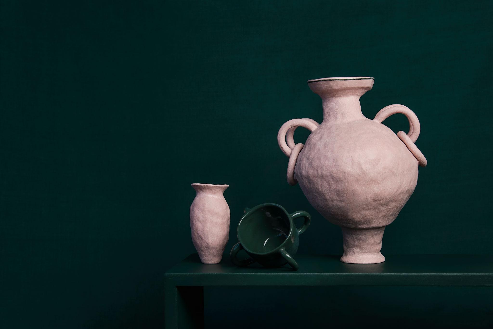 Peta BERGHOFER, Baby Vessel, Four Handled Mug & Lady Amphora 2018, stained white raku & porcelain, dimensions variable.jpg