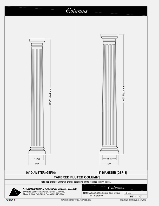 "Tapered Fluted Columns 16"" 18"", Diameter"