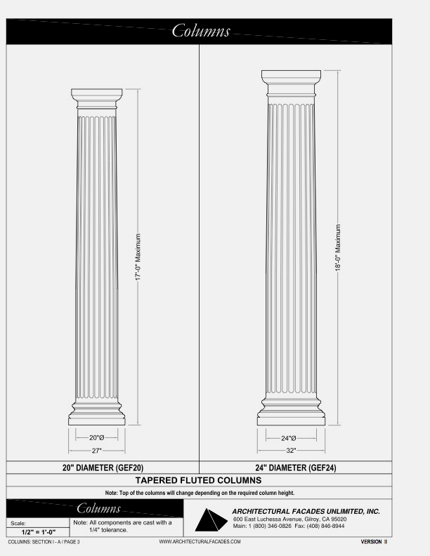 "Tapered Fluted Columns 20"" 14"", Diameter"