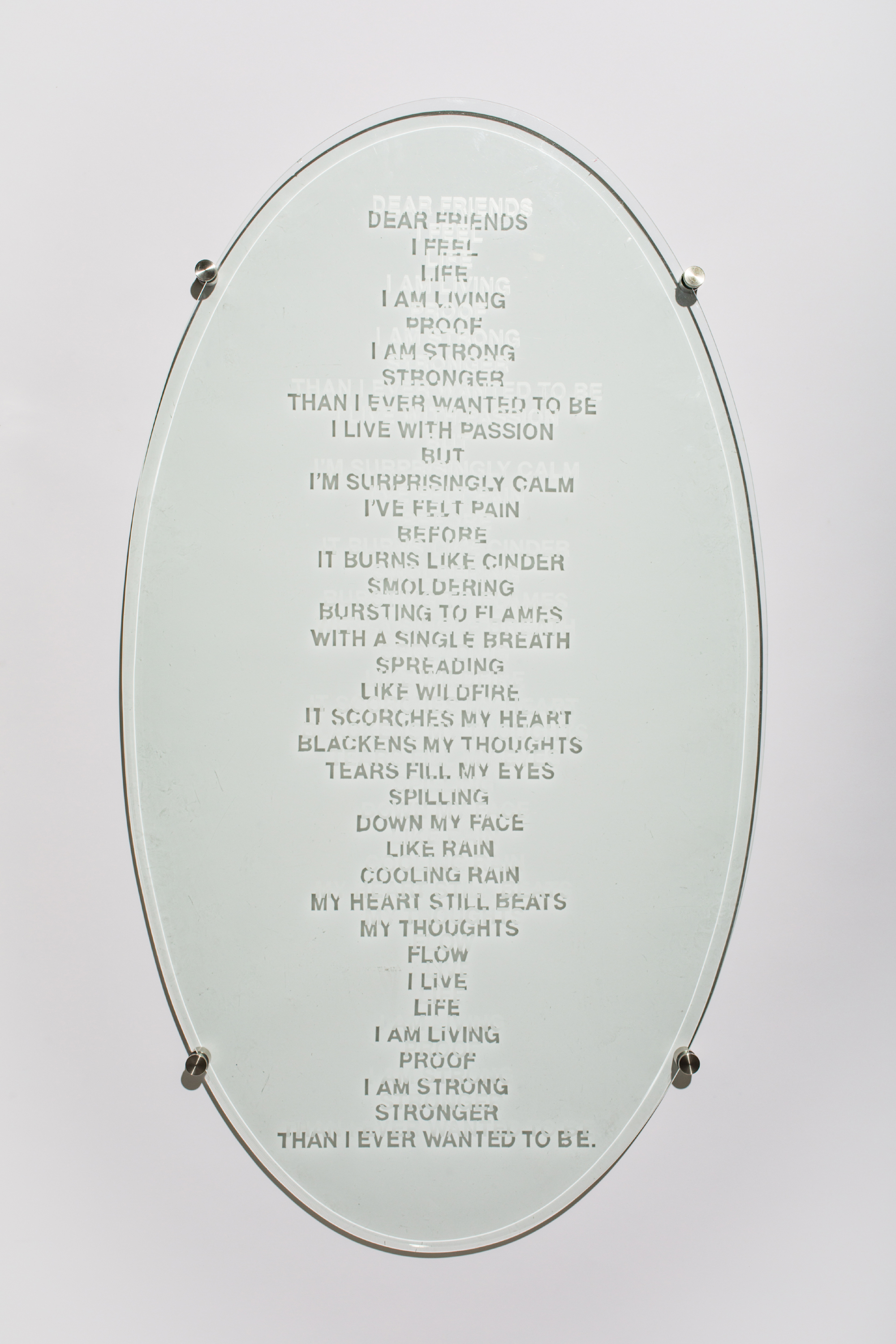 14. Dear Freinds 30x3x53 Original Poem Etched On Glass  $1500 Dan Pillers.jpg