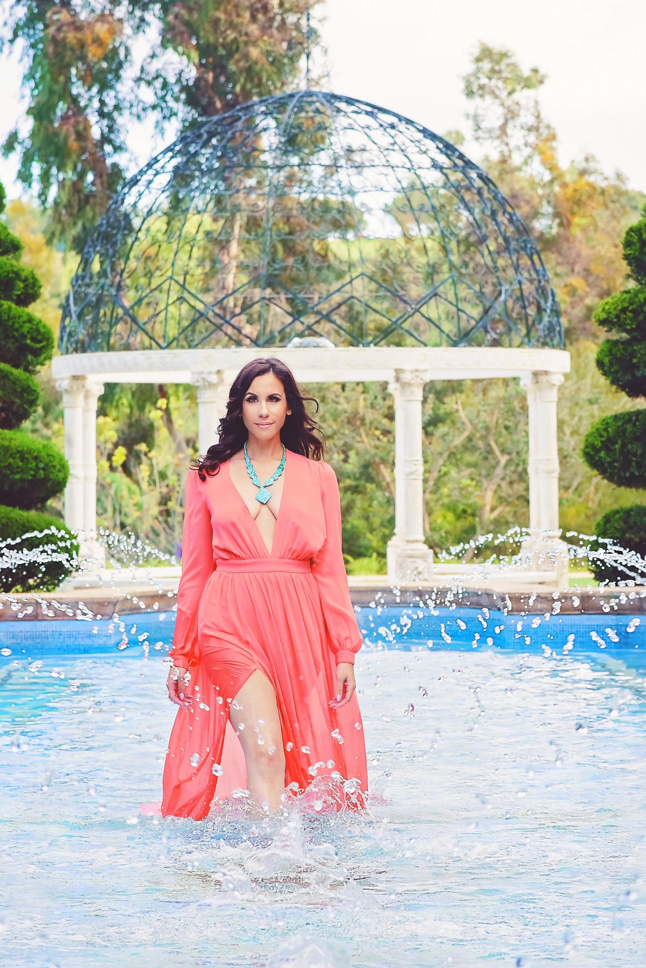 Fashion Aqua Necklace Coral Dress | Fashion Photography | Lacey O