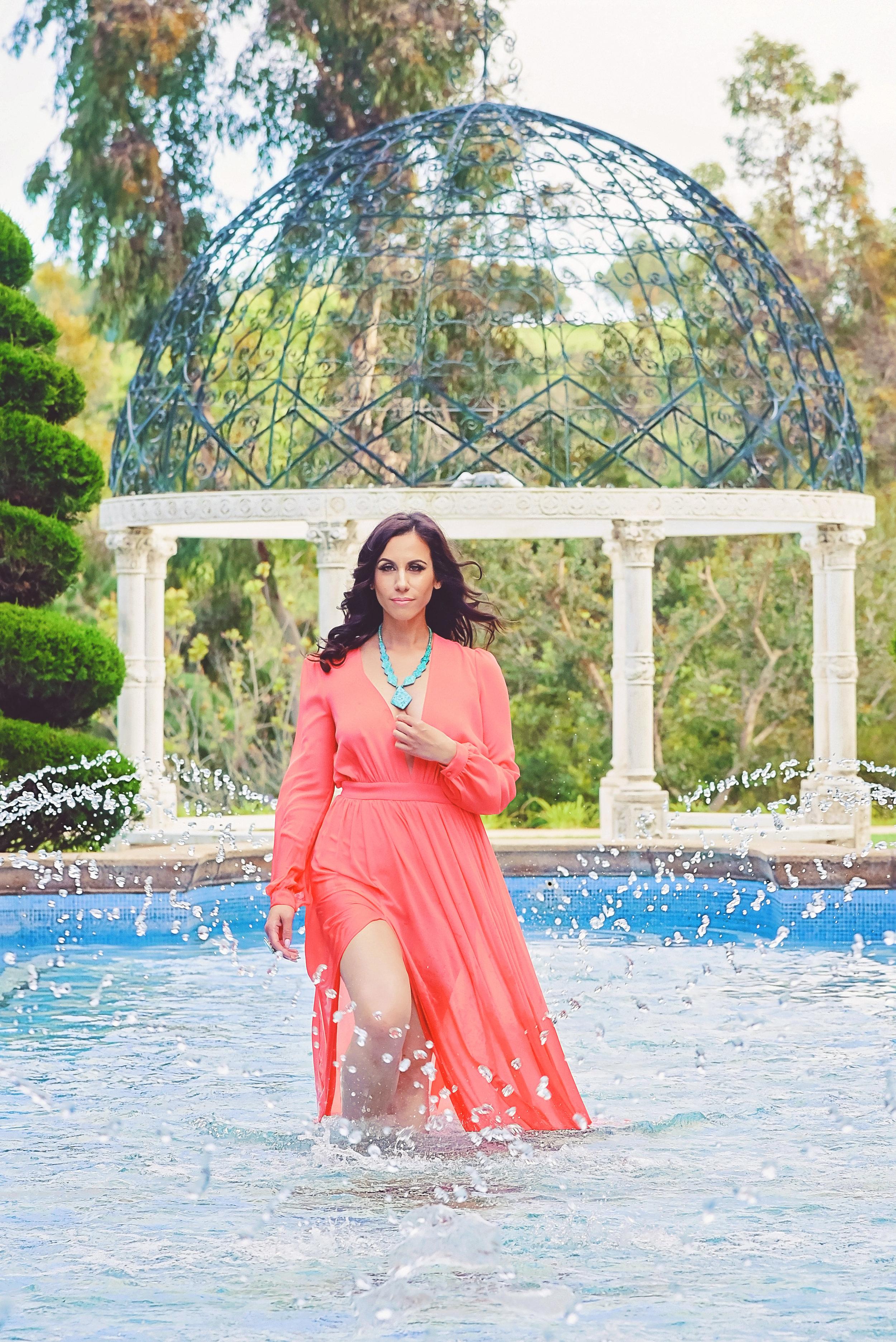 Fashion Coral Dress Aqua Necklace | Fashion Photography | Lacey O | Washington DC