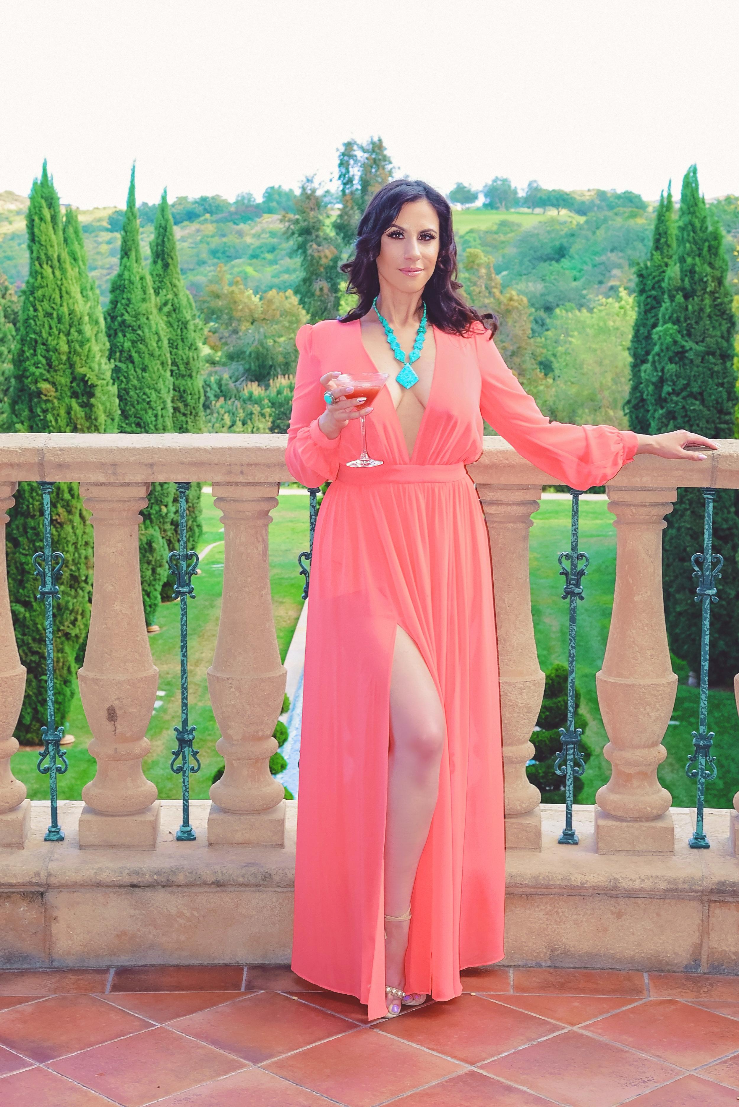 Fashion Pink Dress Aqua Necklace | Fashion Photography | Lacey O