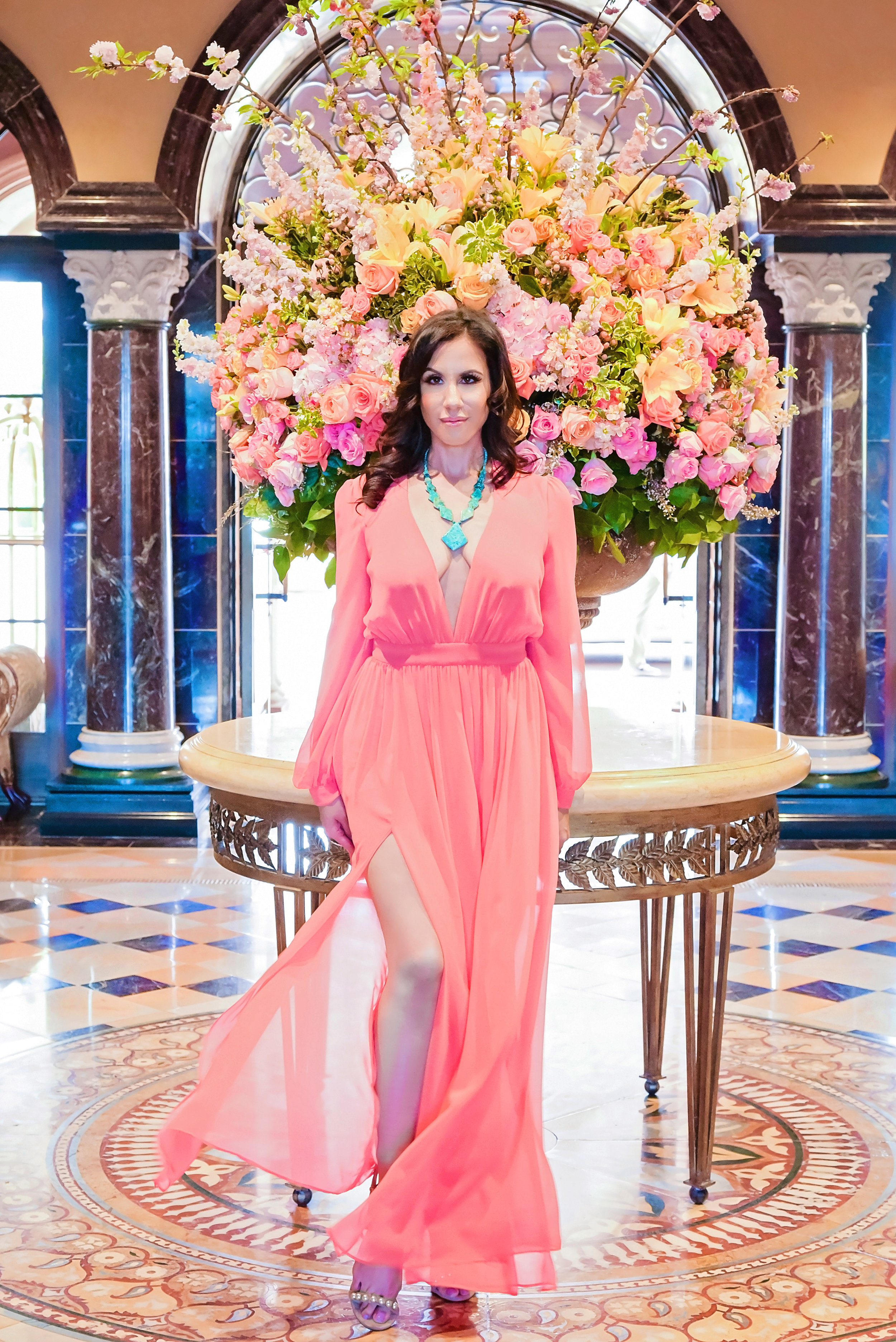 Fashion Coral Dress Aqua Necklace | Lacey O | Washington DC