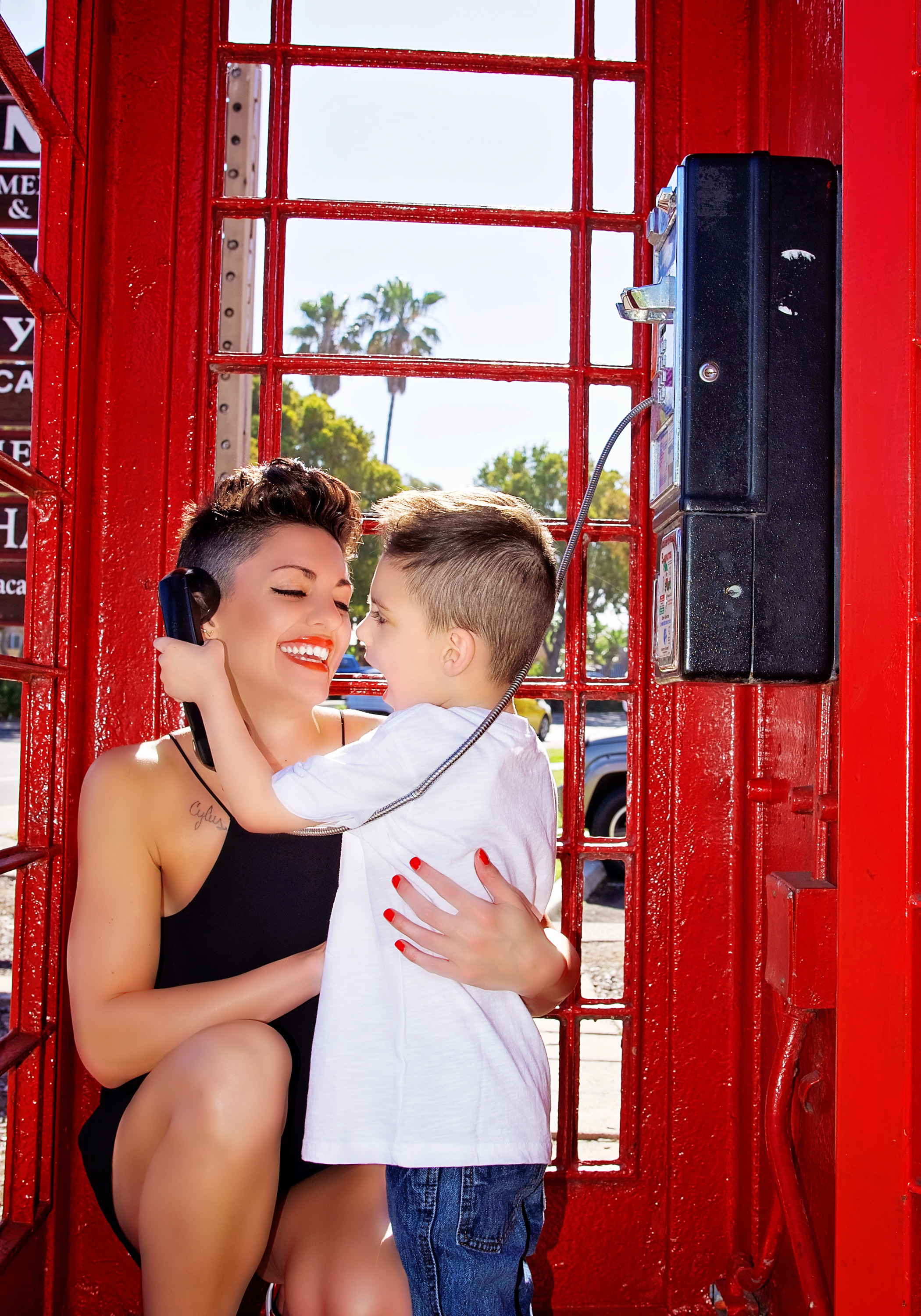 Mother Son Phonebooth Red | Lifestyle Portrait Photography | Lacey O