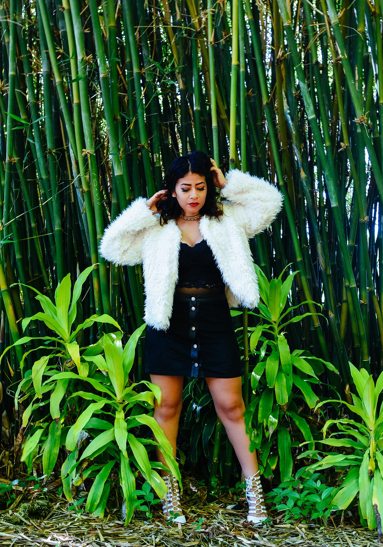 Fashion White Fur Coat Black Dress | Fashion Photography | Lacey O