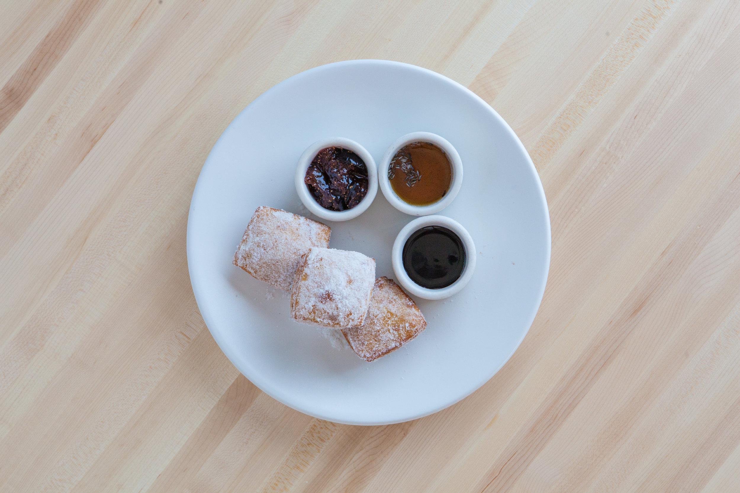 Yo-Yo, Tunisian donuts, lavender honey sauce, chocolate sauce, fig jam.jpg