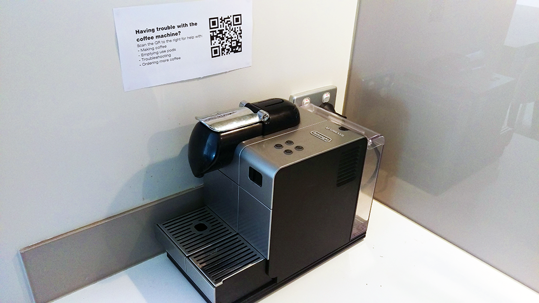 coffee machine in office with qr code