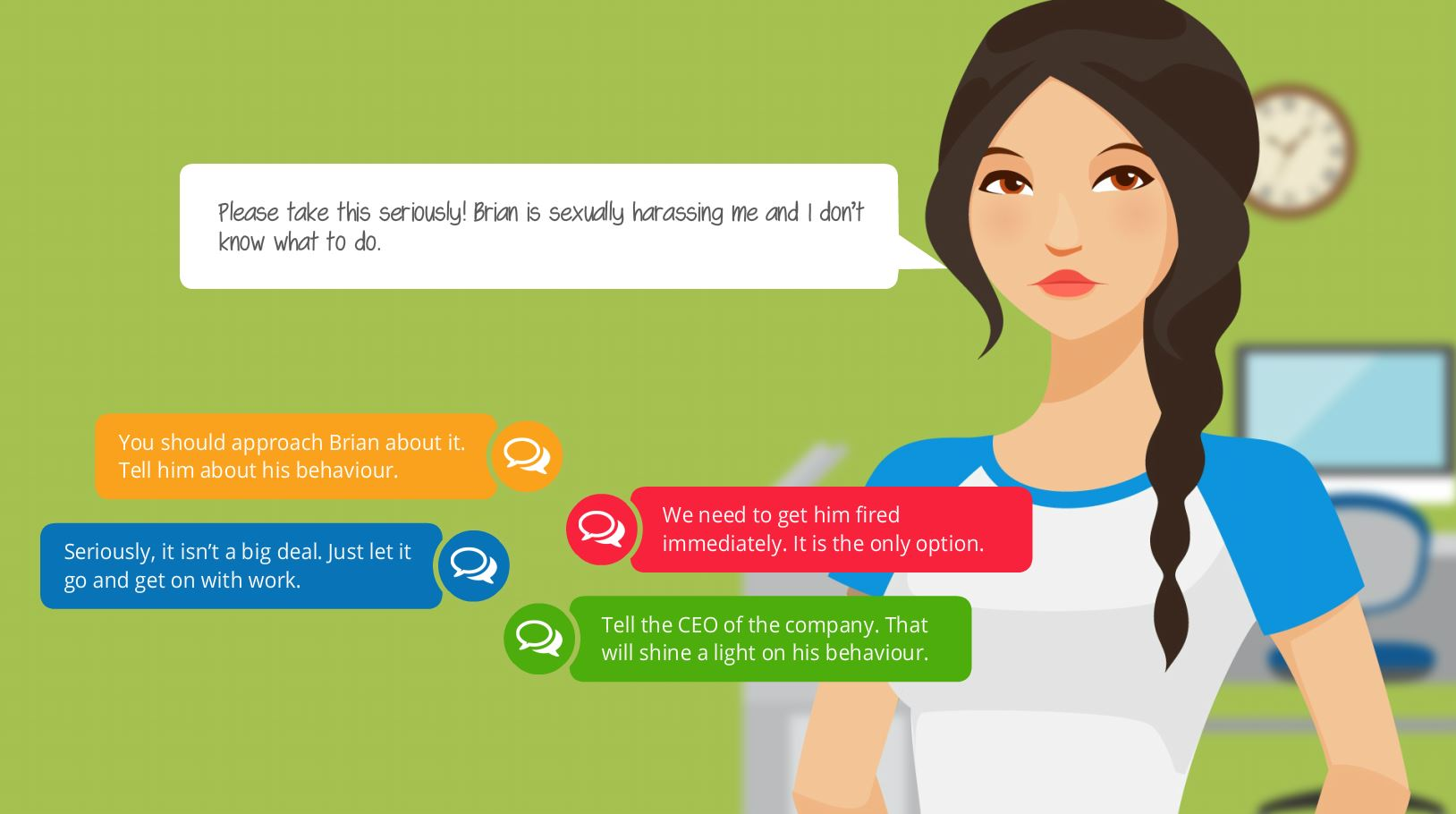 girl roleplaying elearning compliance training